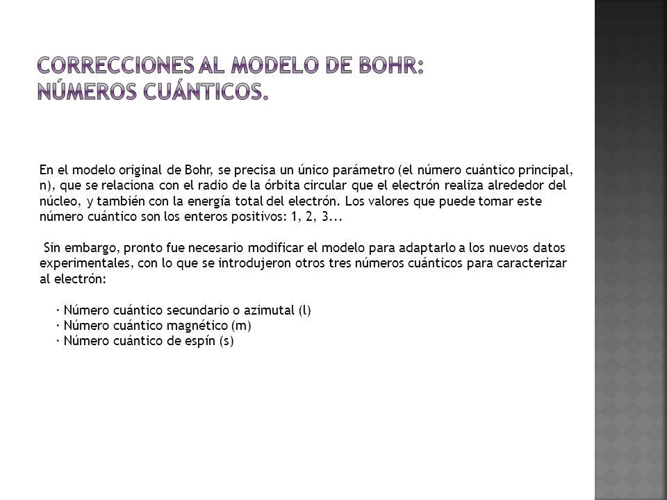 En el modelo original de Bohr, se precisa un único parámetro (el número cuántico principal, n), que se relaciona con el radio de la órbita circular qu