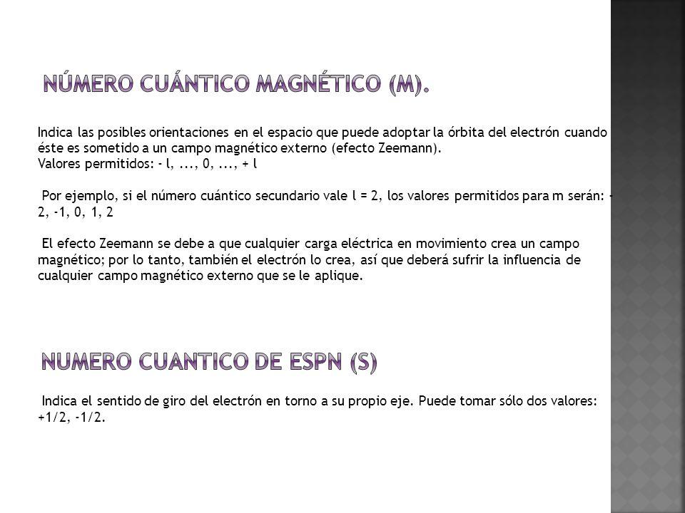 Indica las posibles orientaciones en el espacio que puede adoptar la órbita del electrón cuando éste es sometido a un campo magnético externo (efecto Zeemann).