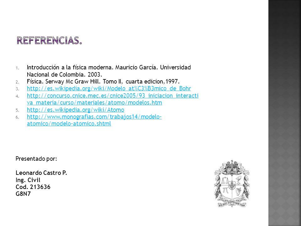 1. Introducción a la física moderna. Mauricio García. Universidad Nacional de Colombia. 2003. 2. Física. Serway Mc Graw Hill. Tomo II, cuarta edicion,