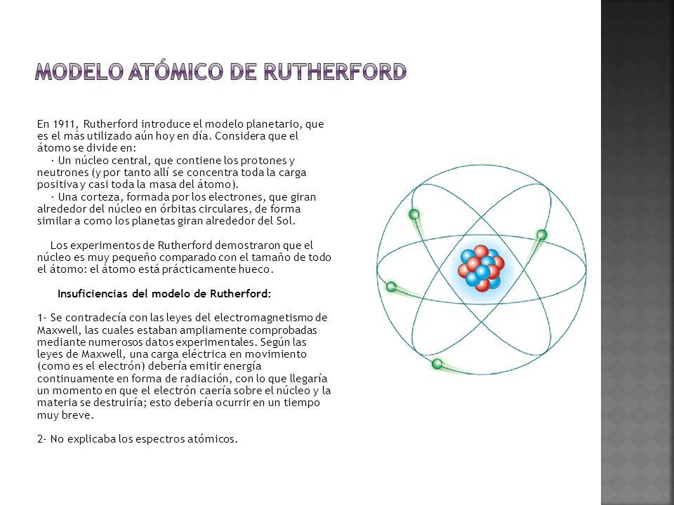 En 1911, Rutherford introduce el modelo planetario, que es el más utilizado aún hoy en día.
