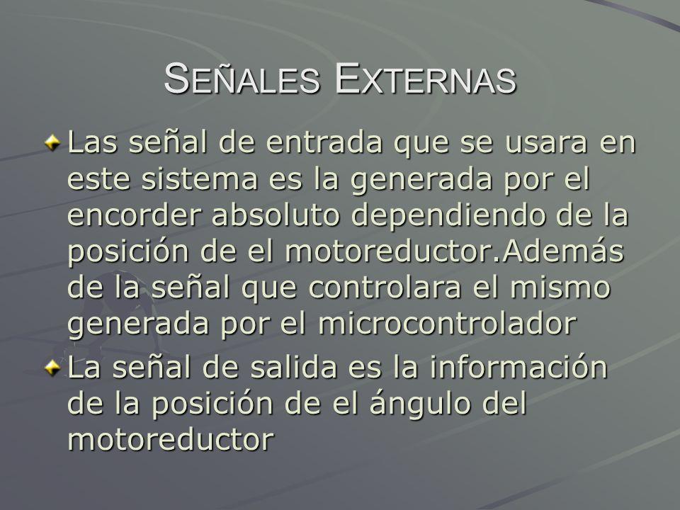 S EÑALES E XTERNAS Las señal de entrada que se usara en este sistema es la generada por el encorder absoluto dependiendo de la posición de el motoredu