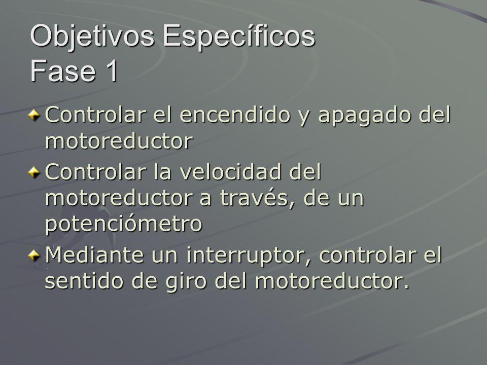 Objetivos Específicos Fase 1 Controlar el encendido y apagado del motoreductor Controlar la velocidad del motoreductor a través, de un potenciómetro M