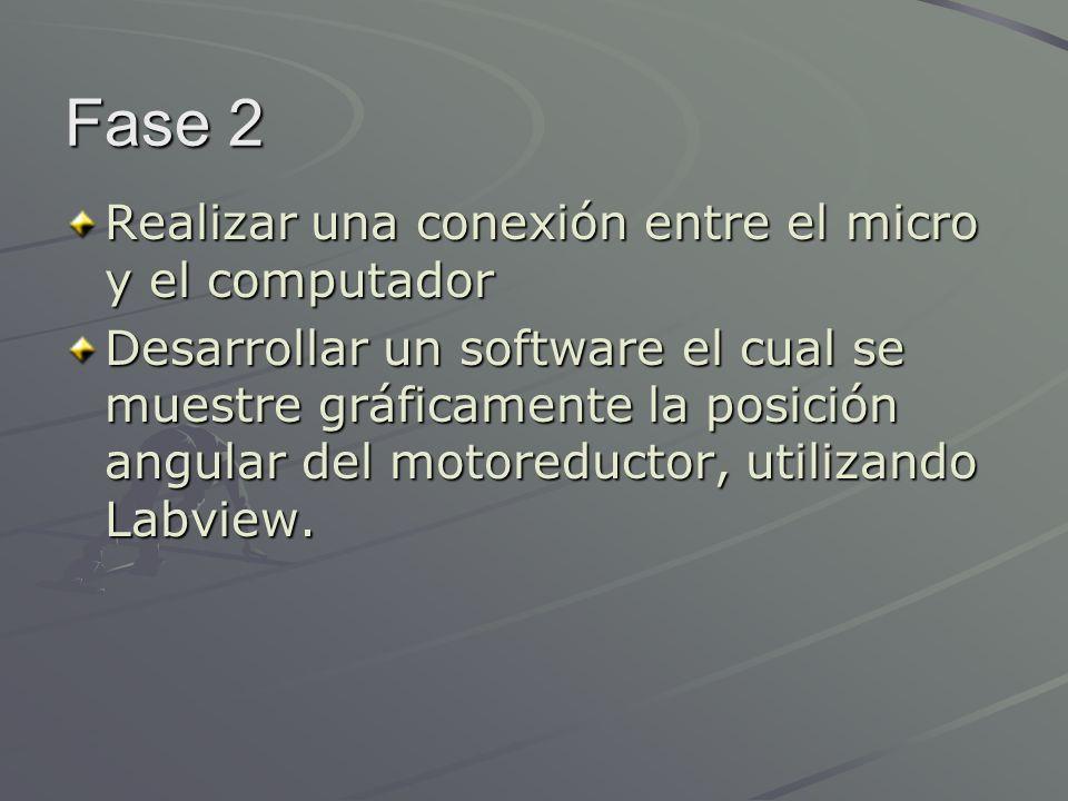 Fase 2 Realizar una conexión entre el micro y el computador Desarrollar un software el cual se muestre gráficamente la posición angular del motoreduct