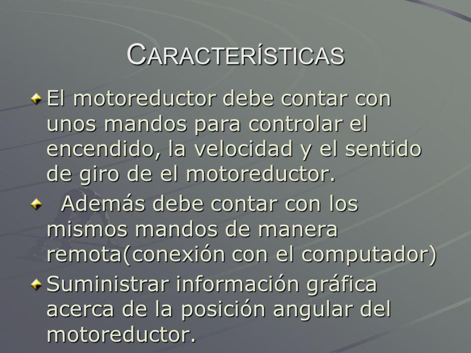 C ARACTERÍSTICAS El motoreductor debe contar con unos mandos para controlar el encendido, la velocidad y el sentido de giro de el motoreductor. Además