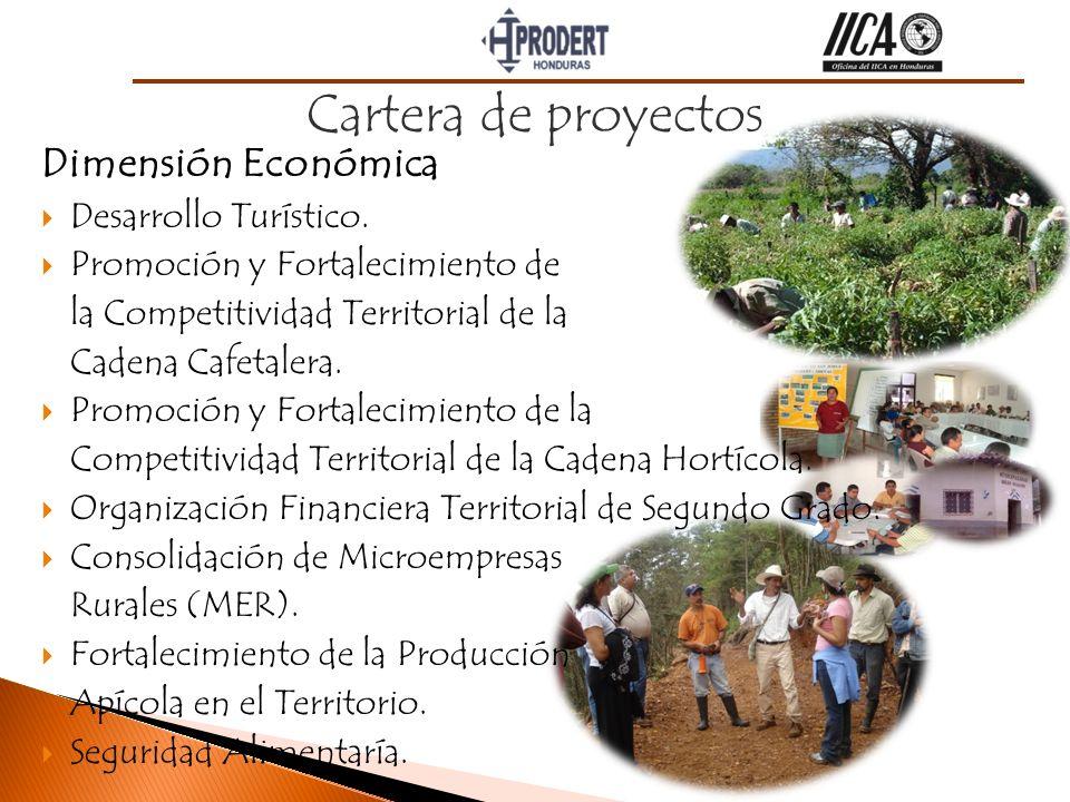 Dimensión Económica Desarrollo Turístico. Promoción y Fortalecimiento de la Competitividad Territorial de la Cadena Cafetalera. Promoción y Fortalecim