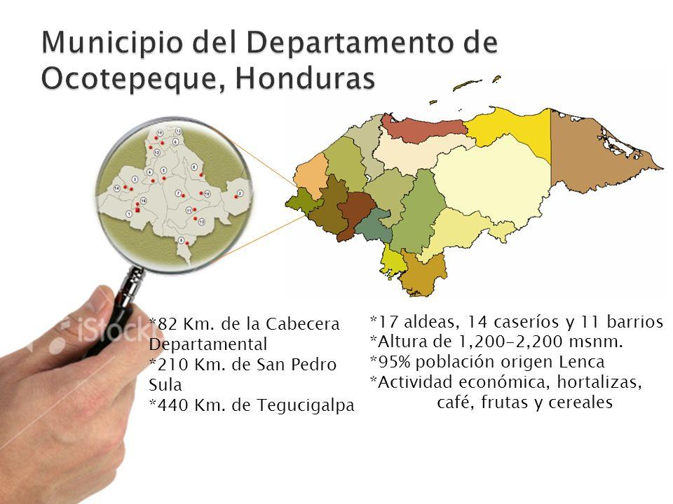 *17 aldeas, 14 caseríos y 11 barrios *Altura de 1,200-2,200 msnm. *95% población origen Lenca *Actividad económica, hortalizas, café, frutas y cereale