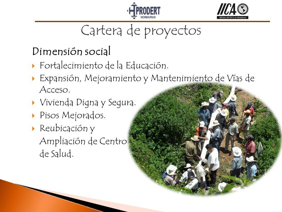 Dimensión social Fortalecimiento de la Educación. Expansión, Mejoramiento y Mantenimiento de Vías de Acceso. Vivienda Digna y Segura. Pisos Mejorados.