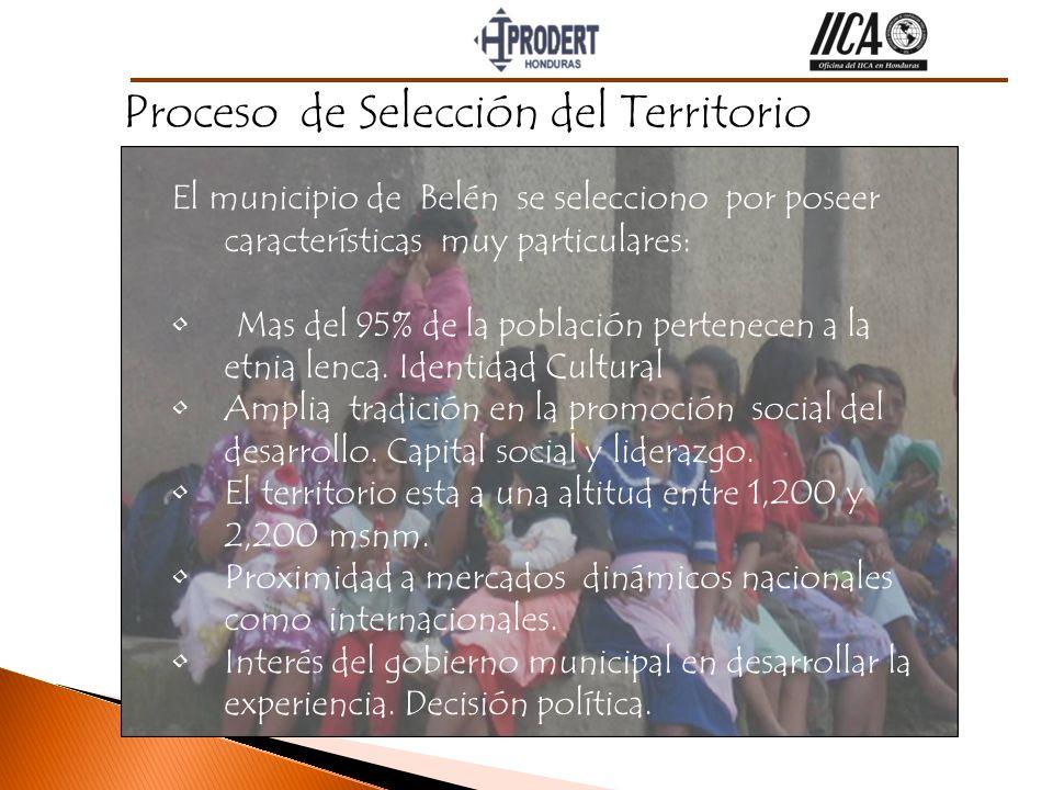 El municipio de Belén se selecciono por poseer características muy particulares: Mas del 95% de la población pertenecen a la etnia lenca. Identidad Cu