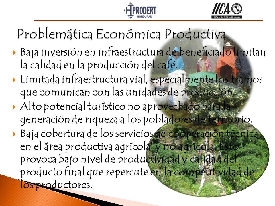 Baja inversión en infraestructura de beneficiado limitan la calidad en la producción del café. Limitada infraestructura vial, especialmente los tramos