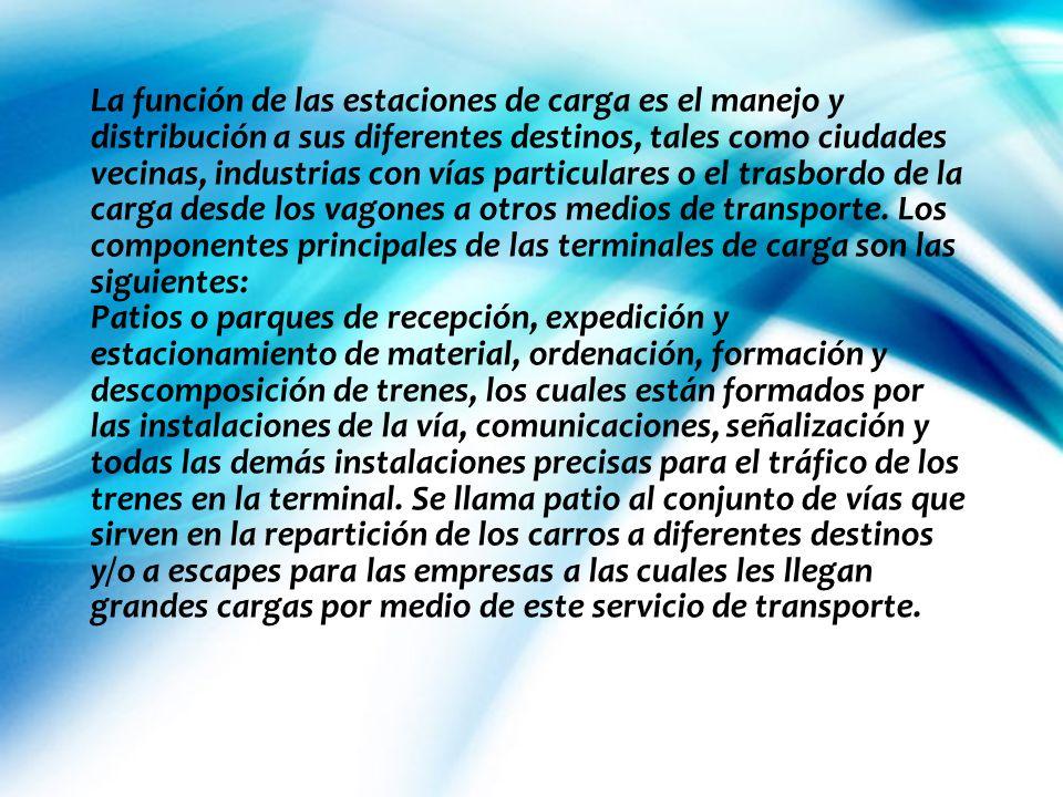 La función de las estaciones de carga es el manejo y distribución a sus diferentes destinos, tales como ciudades vecinas, industrias con vías particul