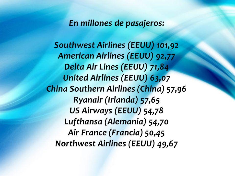 En millones de pasajeros: Southwest Airlines (EEUU) 101,92 American Airlines (EEUU) 92,77 Delta Air Lines (EEUU) 71,84 United Airlines (EEUU) 63,07 Ch