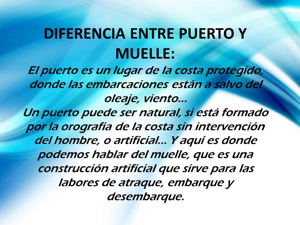 DIFERENCIA ENTRE PUERTO Y MUELLE: El puerto es un lugar de la costa protegido, donde las embarcaciones están a salvo del oleaje, viento... Un puerto p