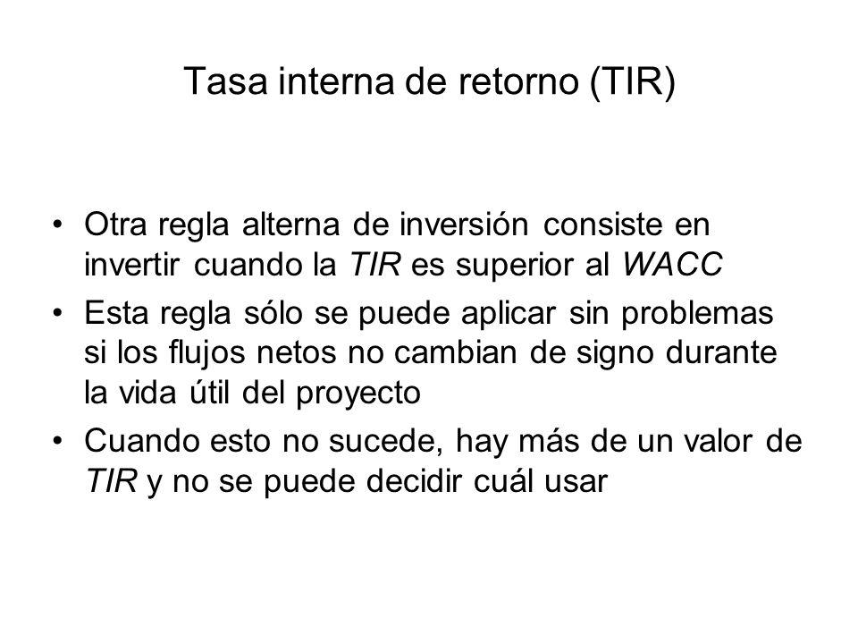 Tasa interna de retorno (TIR) Otra regla alterna de inversión consiste en invertir cuando la TIR es superior al WACC Esta regla sólo se puede aplicar