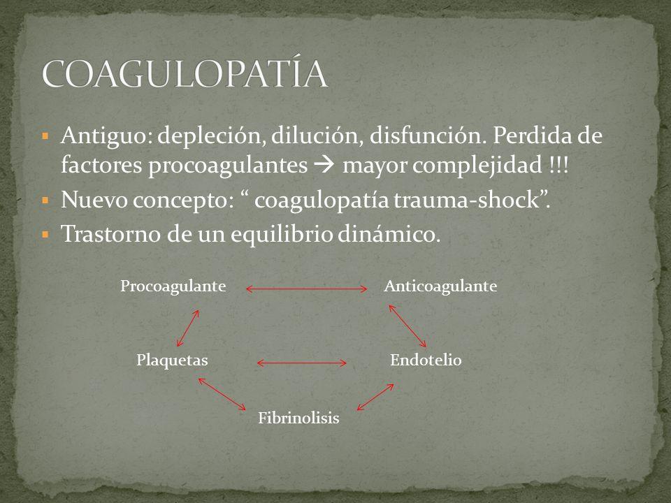 Antiguo: depleción, dilución, disfunción. Perdida de factores procoagulantes mayor complejidad !!! Nuevo concepto: coagulopatía trauma-shock. Trastorn