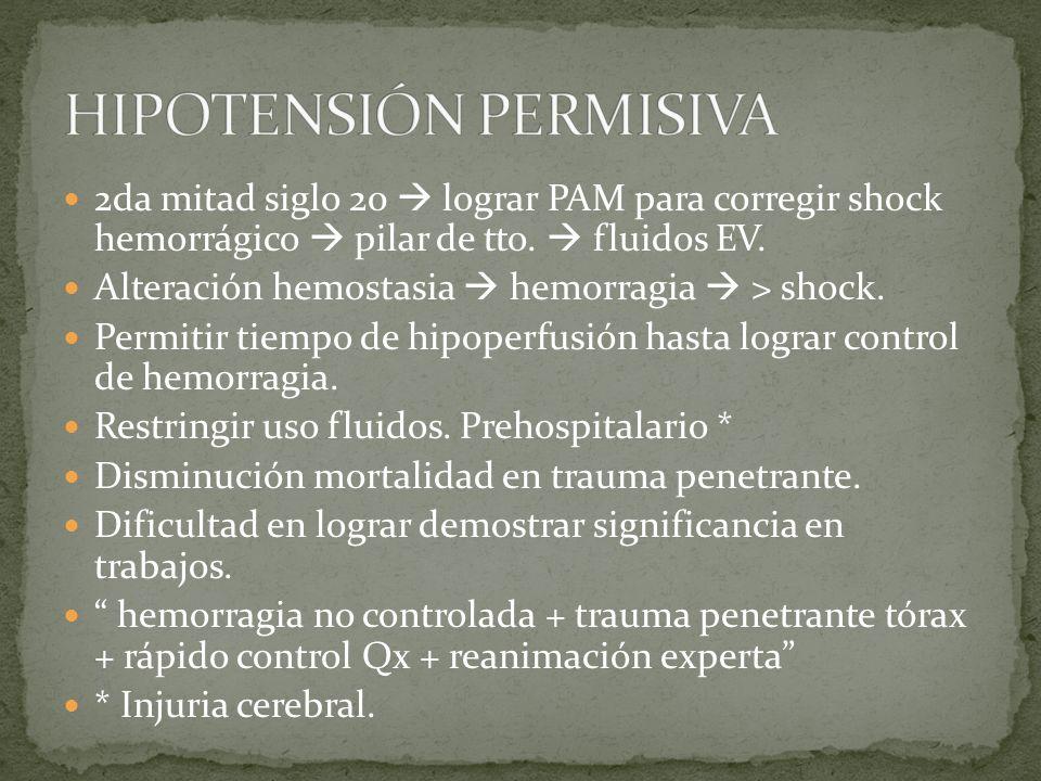 2da mitad siglo 20 lograr PAM para corregir shock hemorrágico pilar de tto. fluidos EV. Alteración hemostasia hemorragia > shock. Permitir tiempo de h