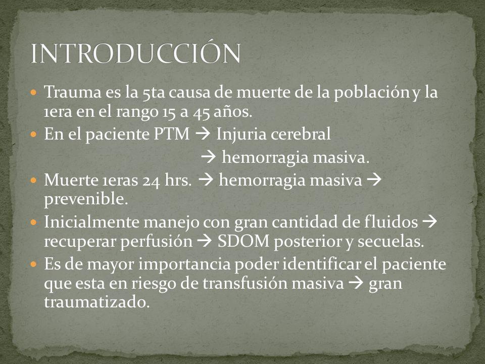 Trauma es la 5ta causa de muerte de la población y la 1era en el rango 15 a 45 años. En el paciente PTM Injuria cerebral hemorragia masiva. Muerte 1er