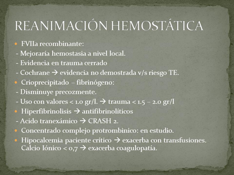 FVIIa recombinante: - Mejoraría hemostasia a nivel local. - Evidencia en trauma cerrado - Cochrane evidencia no demostrada v/s riesgo TE. Crioprecipit