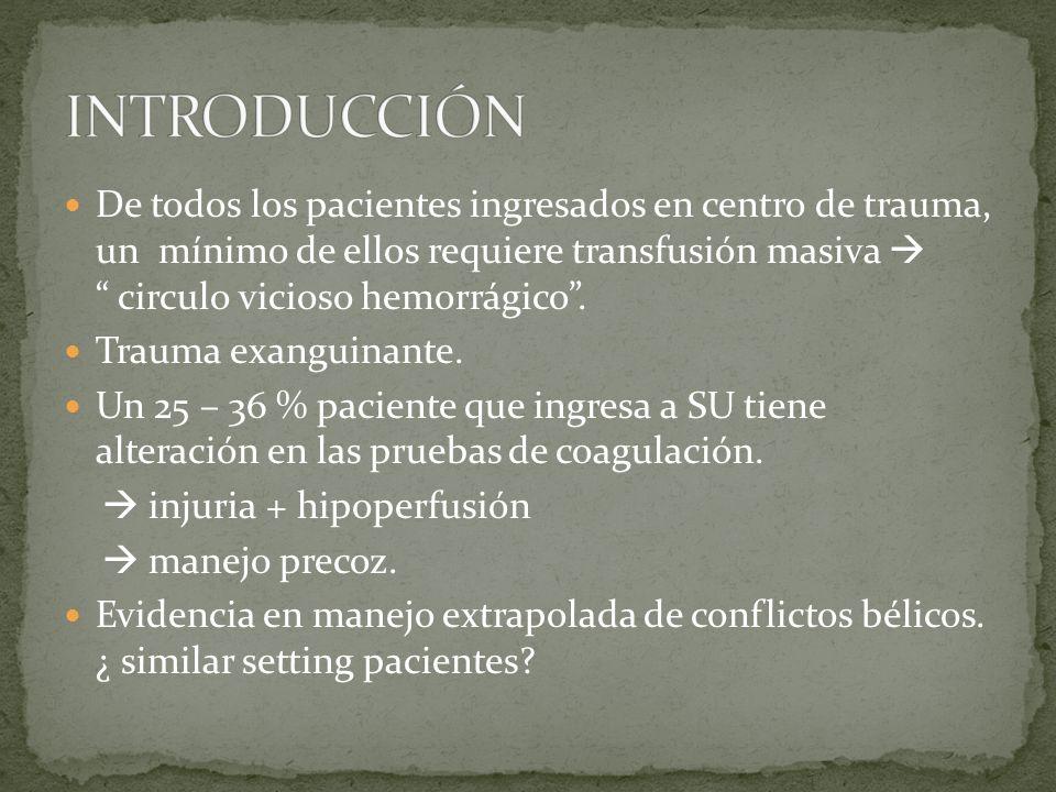 De todos los pacientes ingresados en centro de trauma, un mínimo de ellos requiere transfusión masiva circulo vicioso hemorrágico. Trauma exanguinante