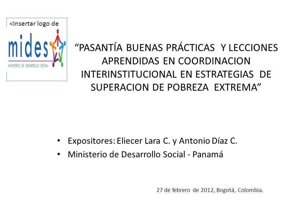 PASANTÍA BUENAS PRÁCTICAS Y LECCIONES APRENDIDAS EN COORDINACION INTERINSTITUCIONAL EN ESTRATEGIAS DE SUPERACION DE POBREZA EXTREMA Expositores: Eliec