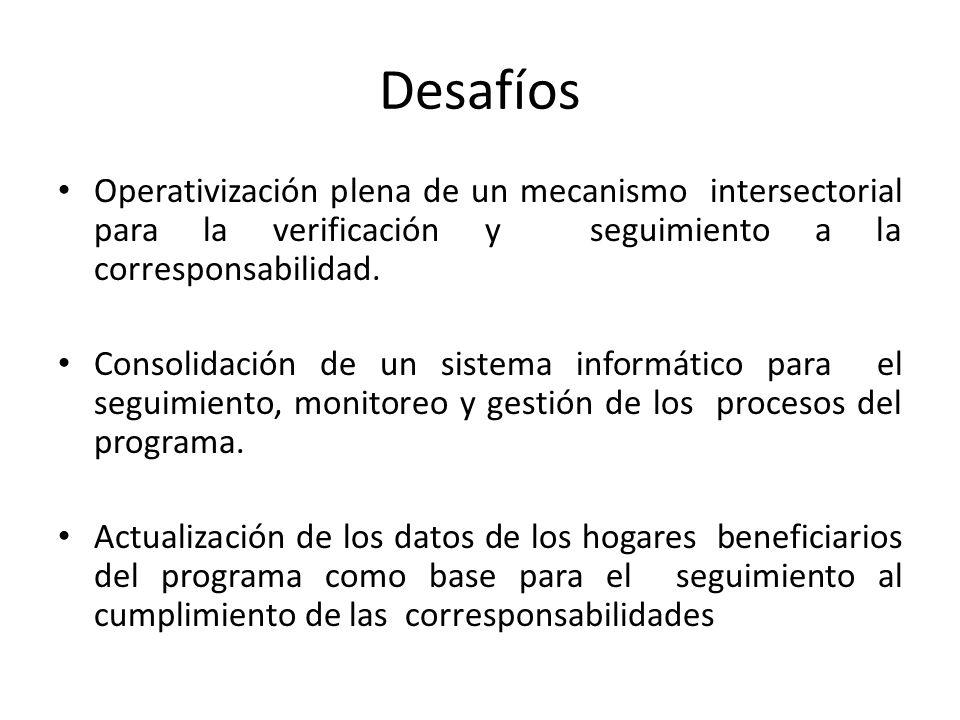 Desafíos Operativización plena de un mecanismo intersectorial para la verificación y seguimiento a la corresponsabilidad. Consolidación de un sistema