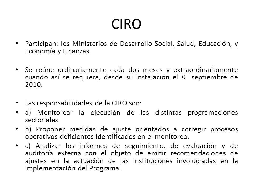 CIRO Participan: los Ministerios de Desarrollo Social, Salud, Educación, y Economía y Finanzas Se reúne ordinariamente cada dos meses y extraordinaria