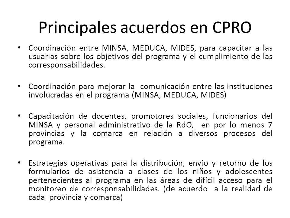 Principales acuerdos en CPRO Coordinación entre MINSA, MEDUCA, MIDES, para capacitar a las usuarias sobre los objetivos del programa y el cumplimiento