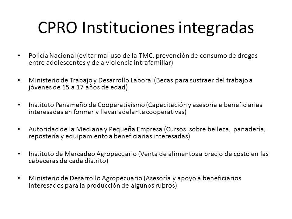 CPRO Instituciones integradas Policía Nacional (evitar mal uso de la TMC, prevención de consumo de drogas entre adolescentes y de a violencia intrafam