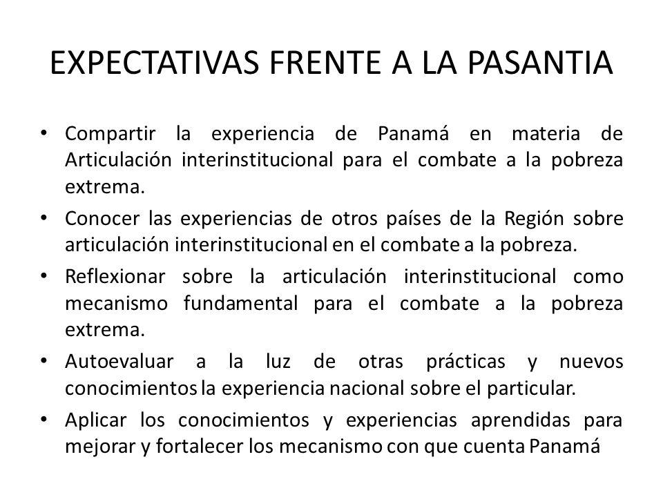 EXPECTATIVAS FRENTE A LA PASANTIA Compartir la experiencia de Panamá en materia de Articulación interinstitucional para el combate a la pobreza extrem