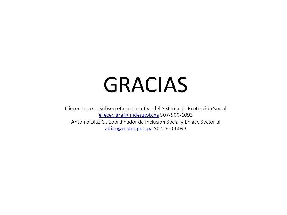 GRACIAS Eliecer Lara C., Subsecretario Ejecutivo del Sistema de Protección Social eliecer.lara@mides.gob.pa 507-500-6093 Antonio Díaz C., Coordinador