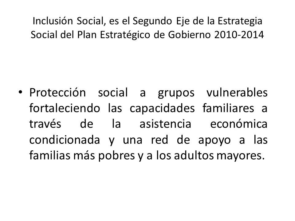 Inclusión Social, es el Segundo Eje de la Estrategia Social del Plan Estratégico de Gobierno 2010-2014 Protección social a grupos vulnerables fortalec