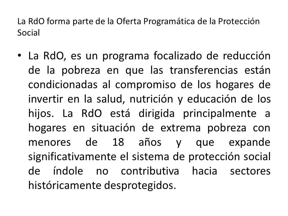 La RdO forma parte de la Oferta Programática de la Protección Social La RdO, es un programa focalizado de reducción de la pobreza en que las transfere