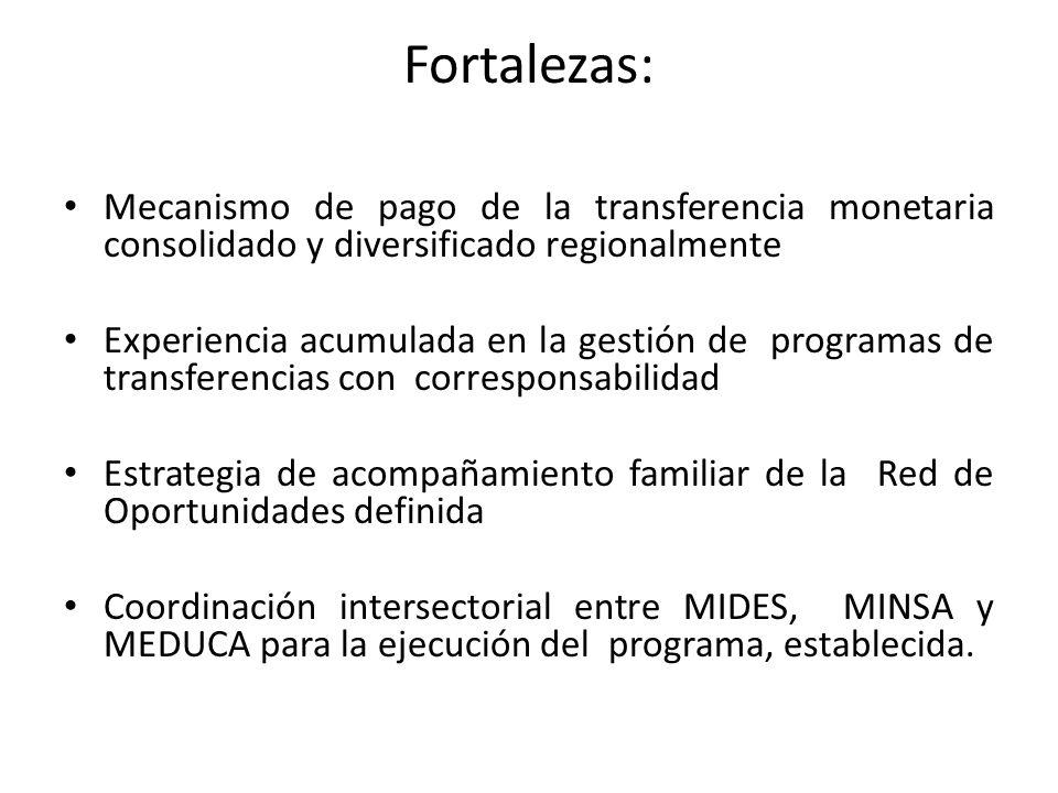 Fortalezas: Mecanismo de pago de la transferencia monetaria consolidado y diversificado regionalmente Experiencia acumulada en la gestión de programas