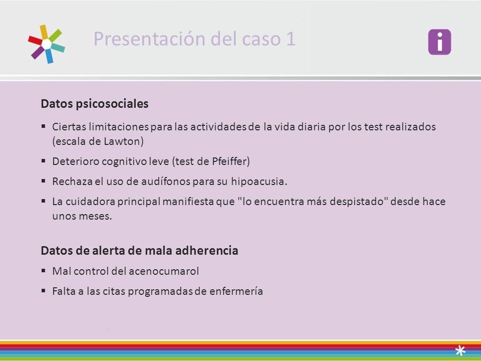 Presentación del caso 1 Datos psicosociales Ciertas limitaciones para las actividades de la vida diaria por los test realizados (escala de Lawton) Det