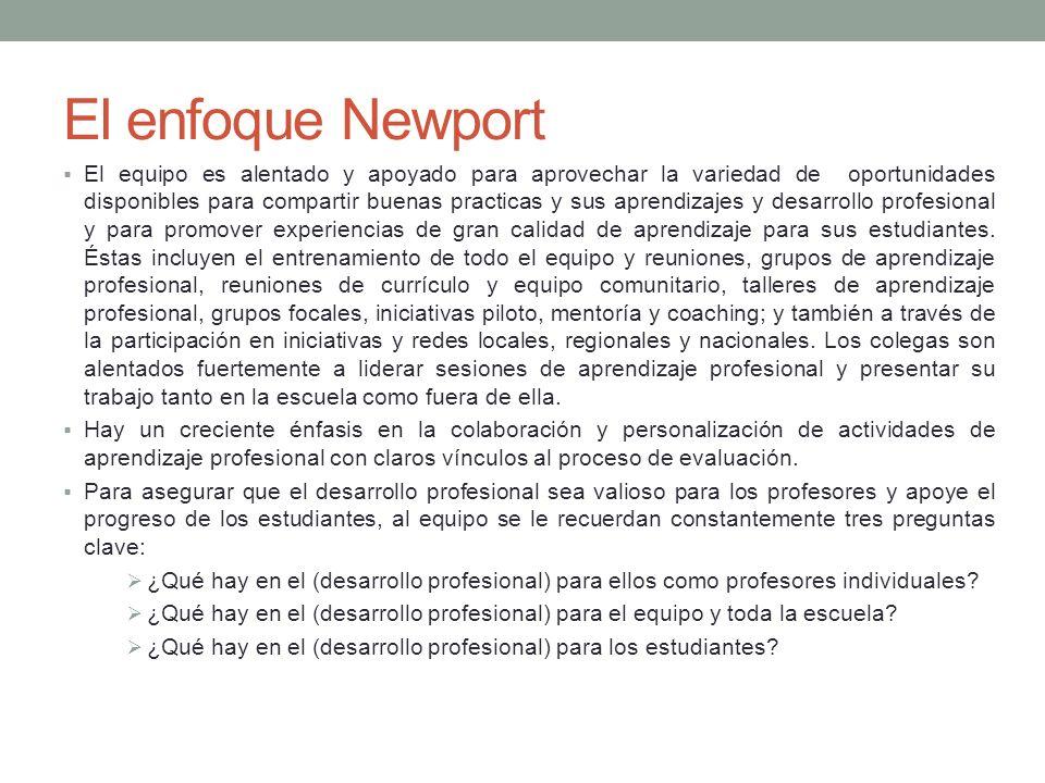 El enfoque Newport El equipo es alentado y apoyado para aprovechar la variedad de oportunidades disponibles para compartir buenas practicas y sus apre