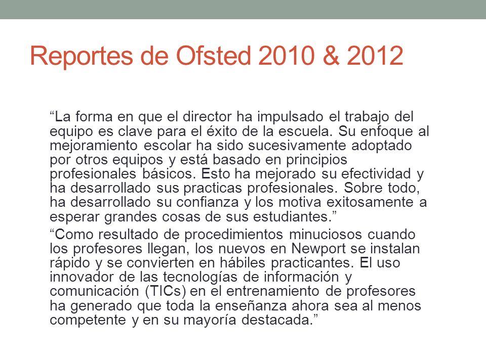 Reportes de Ofsted 2010 & 2012 La forma en que el director ha impulsado el trabajo del equipo es clave para el éxito de la escuela. Su enfoque al mejo