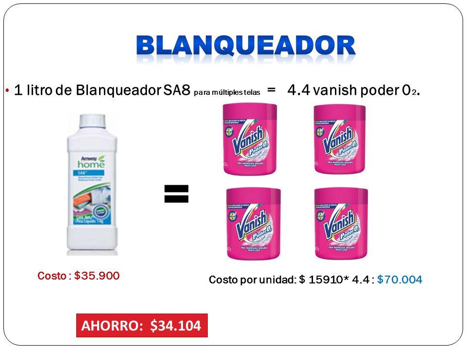 1 litro de Blanqueador SA8 para múltiples telas = 4.4 vanish poder 0 2. Costo : $35.900 Costo por unidad: $ 15910* 4.4 : $70.004 AHORRO: $34.104