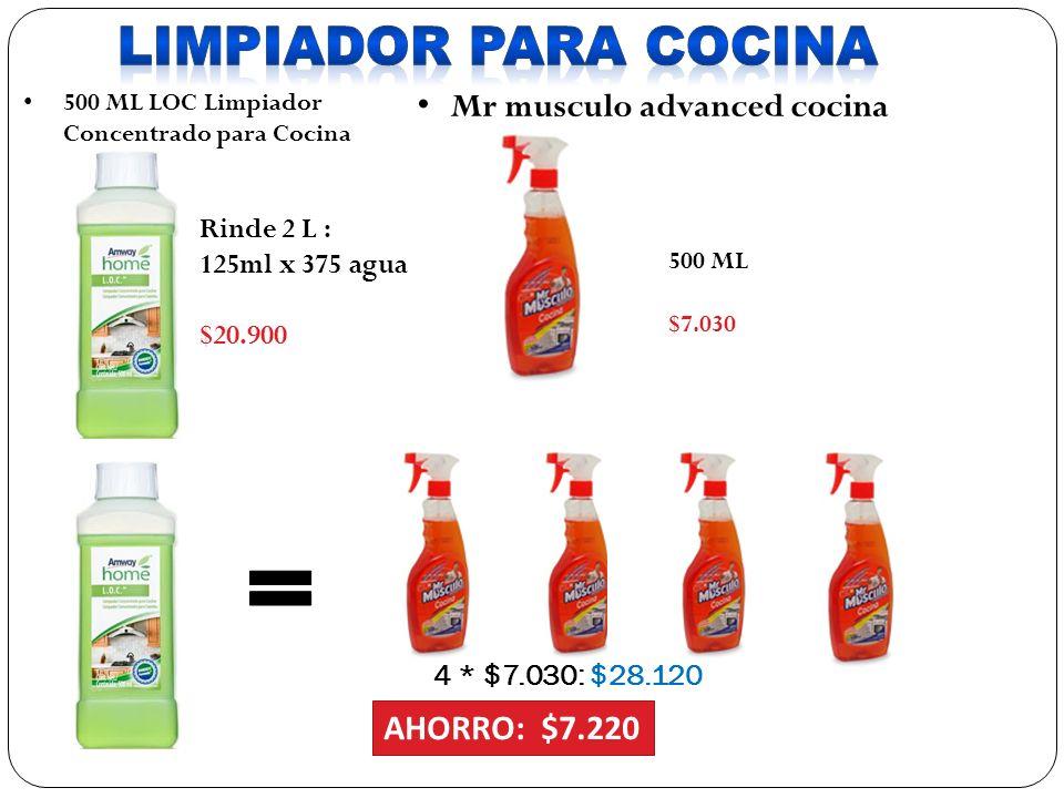 4 * $7.030: $28.120 AHORRO: $7.220 500 ML LOC Limpiador Concentrado para Cocina Mr musculo advanced cocina cocina 500 ML $7.030 Rinde 2 L : 125ml x 375 agua $20.900