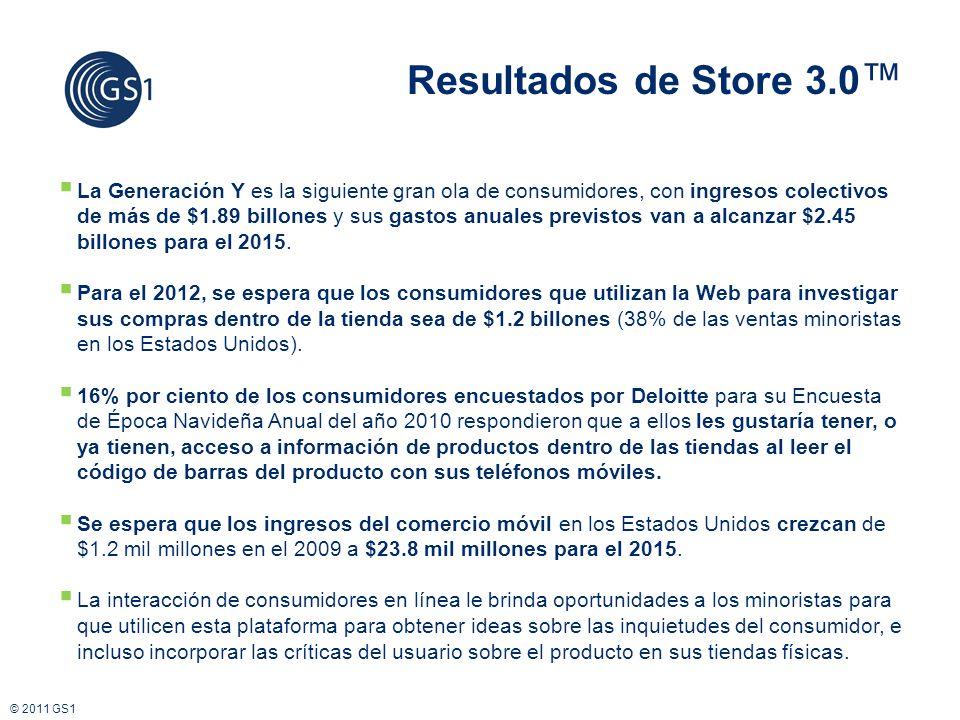 © 2011 GS1 La Generación Y es la siguiente gran ola de consumidores, con ingresos colectivos de más de $1.89 billones y sus gastos anuales previstos van a alcanzar $2.45 billones para el 2015.