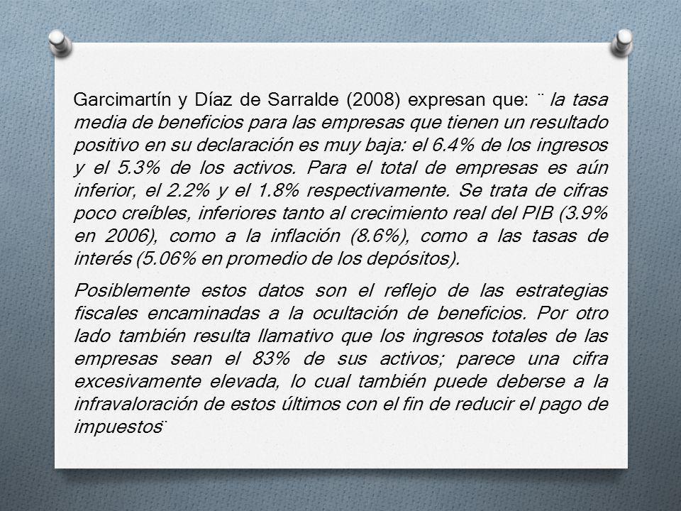 Garcimartín y Díaz de Sarralde (2008) expresan que: ¨ la tasa media de beneficios para las empresas que tienen un resultado positivo en su declaración