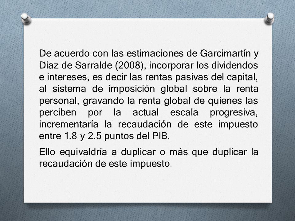 De acuerdo con las estimaciones de Garcimartín y Diaz de Sarralde (2008), incorporar los dividendos e intereses, es decir las rentas pasivas del capit