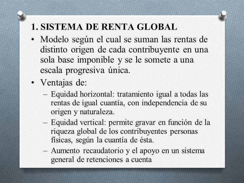 1. SISTEMA DE RENTA GLOBAL Modelo según el cual se suman las rentas de distinto origen de cada contribuyente en una sola base imponible y se le somete