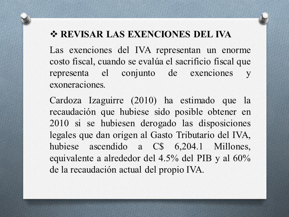 REVISAR LAS EXENCIONES DEL IVA Las exenciones del IVA representan un enorme costo fiscal, cuando se evalúa el sacrificio fiscal que representa el conj