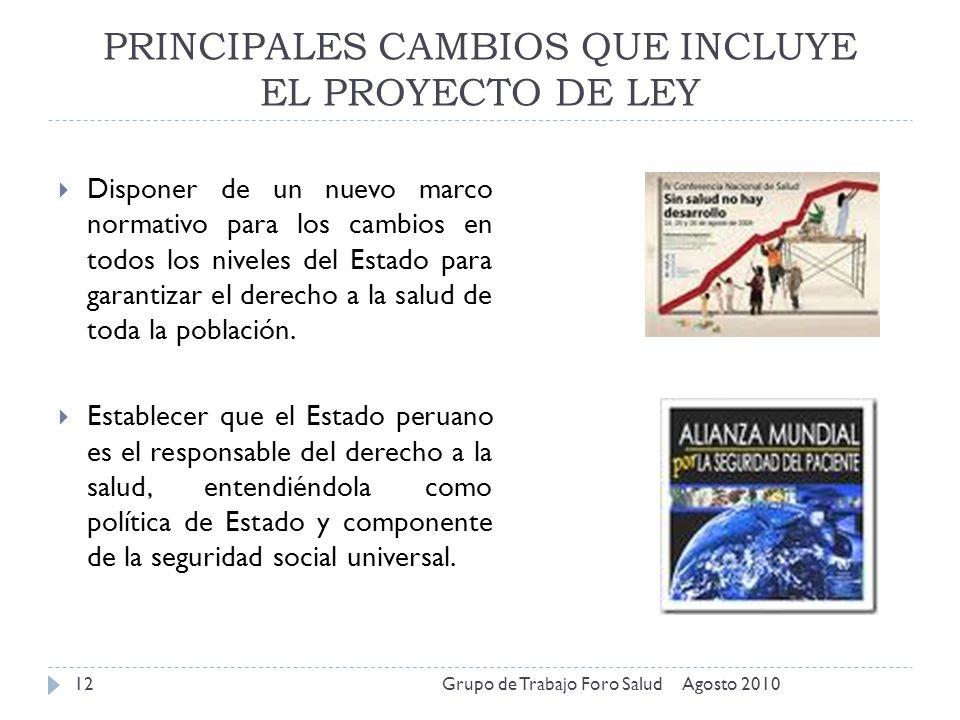 PRINCIPALES CAMBIOS QUE INCLUYE EL PROYECTO DE LEY Agosto 2010Grupo de Trabajo Foro Salud12 Disponer de un nuevo marco normativo para los cambios en t