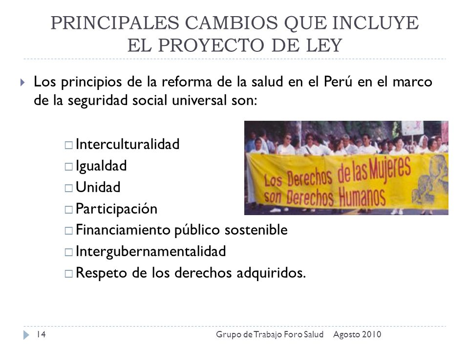 PRINCIPALES CAMBIOS QUE INCLUYE EL PROYECTO DE LEY Agosto 2010Grupo de Trabajo Foro Salud14 Los principios de la reforma de la salud en el Perú en el