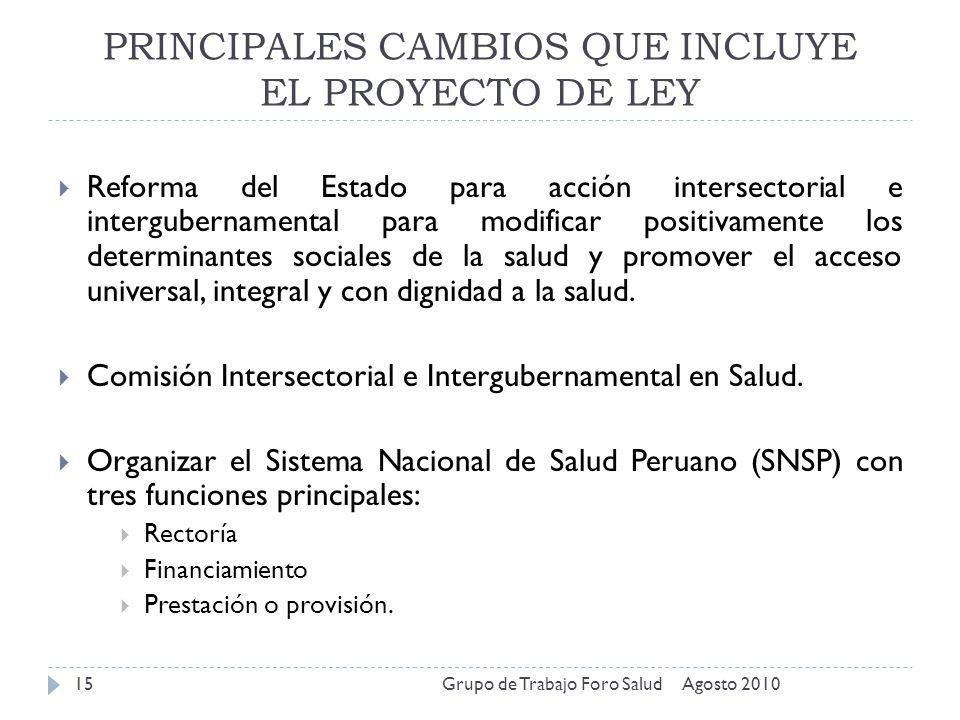 PRINCIPALES CAMBIOS QUE INCLUYE EL PROYECTO DE LEY Agosto 2010Grupo de Trabajo Foro Salud15 Reforma del Estado para acción intersectorial e interguber