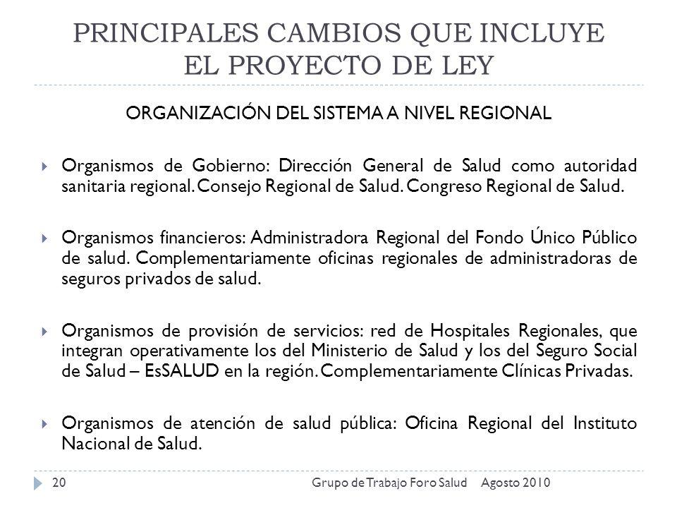 PRINCIPALES CAMBIOS QUE INCLUYE EL PROYECTO DE LEY Agosto 2010Grupo de Trabajo Foro Salud20 ORGANIZACIÓN DEL SISTEMA A NIVEL REGIONAL Organismos de Go