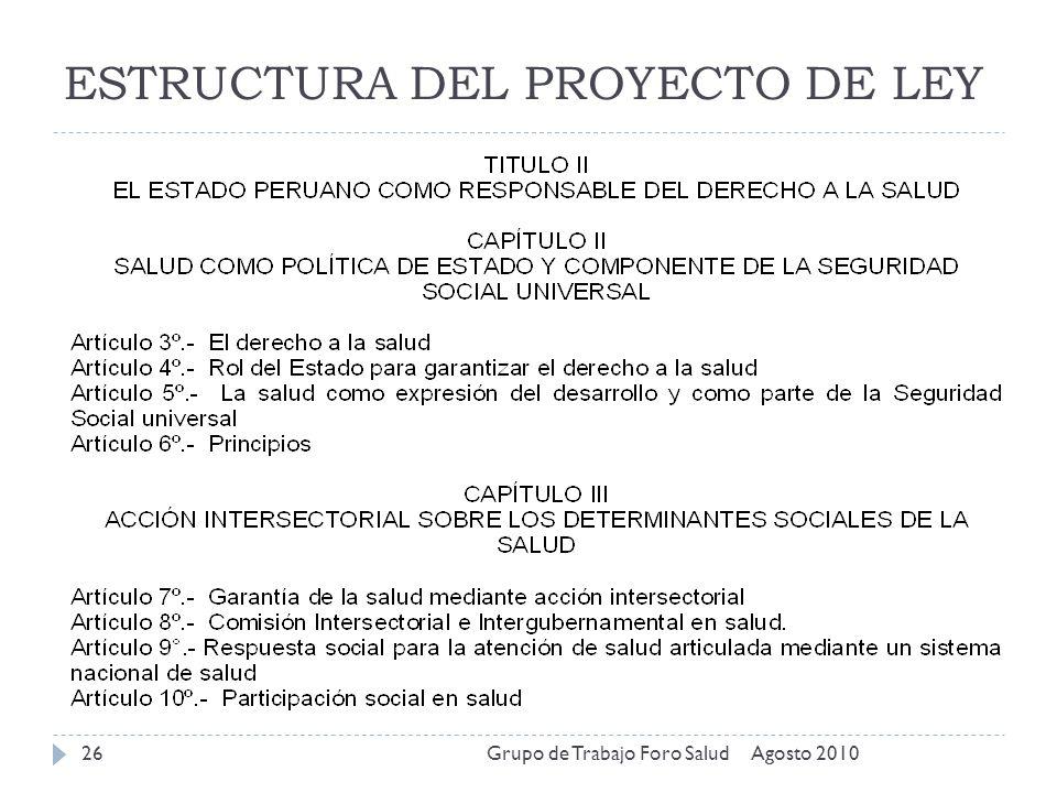ESTRUCTURA DEL PROYECTO DE LEY Agosto 2010Grupo de Trabajo Foro Salud26