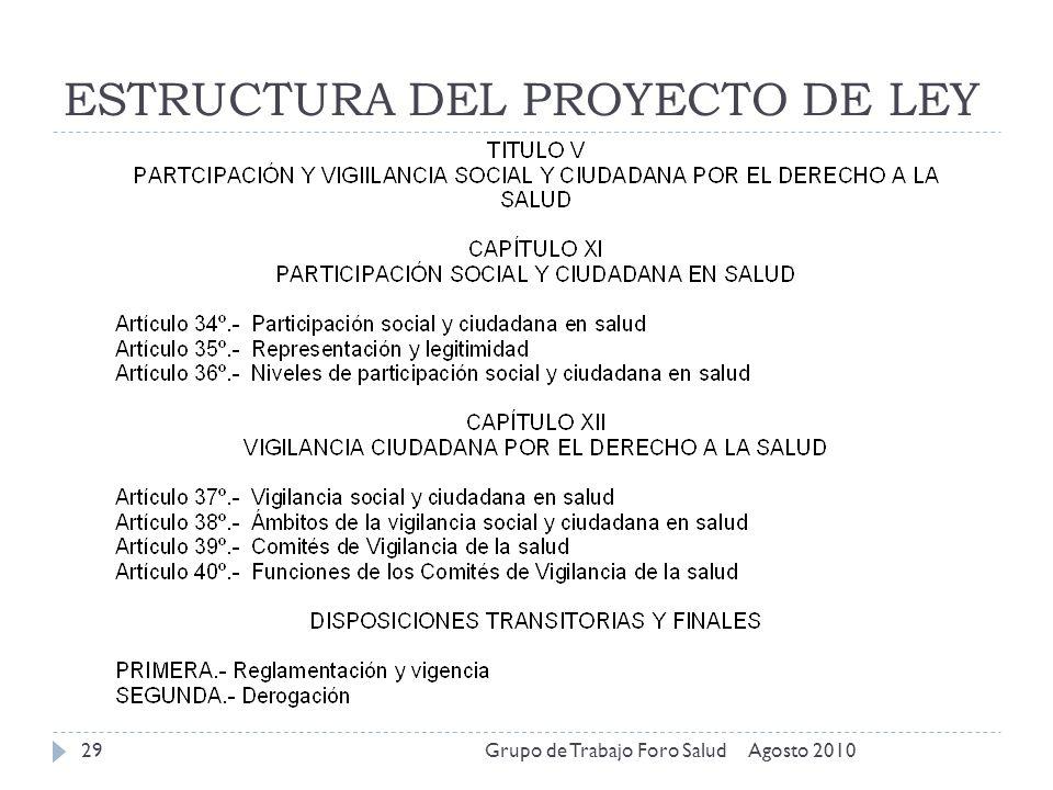 ESTRUCTURA DEL PROYECTO DE LEY Agosto 2010Grupo de Trabajo Foro Salud29