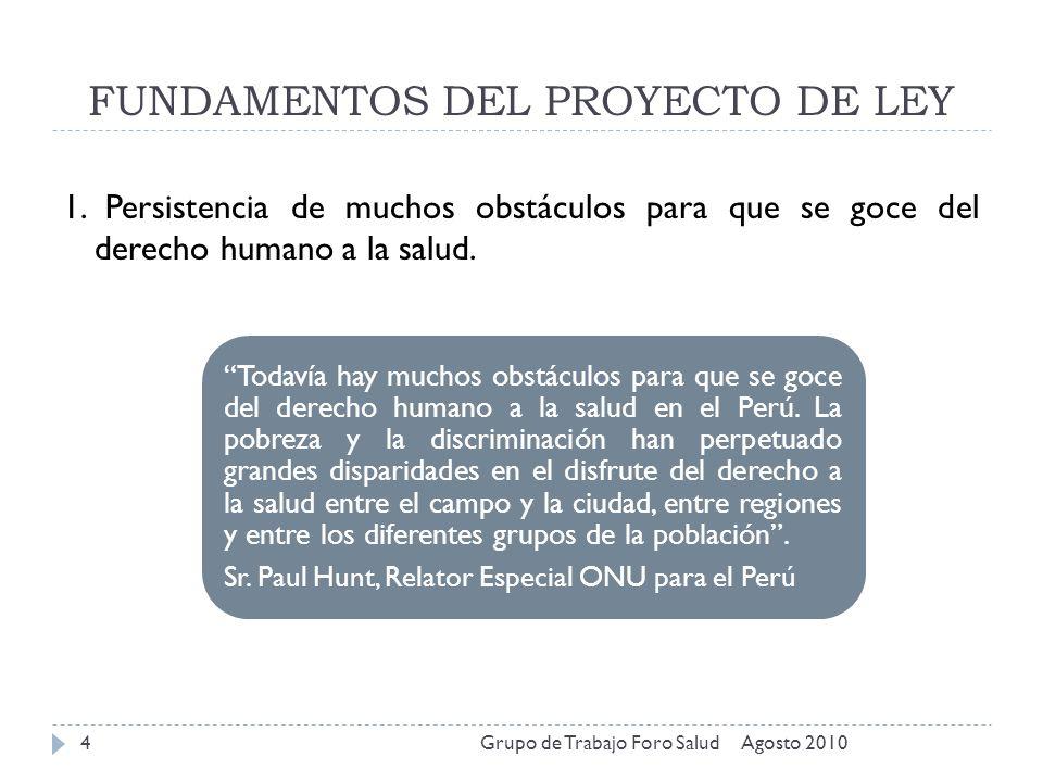 FUNDAMENTOS DEL PROYECTO DE LEY Agosto 2010Grupo de Trabajo Foro Salud4 1. Persistencia de muchos obstáculos para que se goce del derecho humano a la