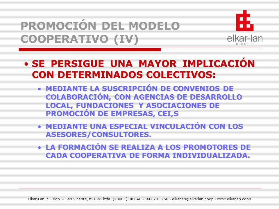 Elkar-Lan, S.Coop. – San Vicente, nº 8-9º izda. (48001) BILBAO - 944 703 760 - elkarlan@elkarlan.coop - www.elkarlan.coop PROMOCIÓN DEL MODELO COOPERA